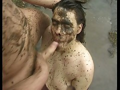 Chubby bruette amateur fucks mud dirty bitch sex.