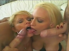Two Blonde Milfs Take A Doubledip with two cocks