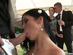 Wedding turns into hardcore group sex party orgy