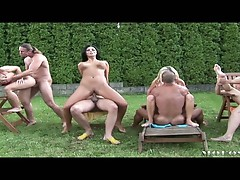 Outdoor sex orgy in the backyard