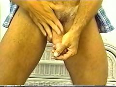 Tanned dick masturbates on cam
