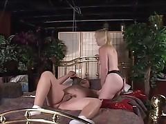 Nasty blonde milf fucking dude with strapon
