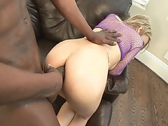 Ebony cock crams into white cunt