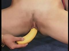 Hot lesbian sluts play with a banana!