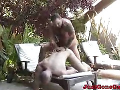Muscled guy fucked in doggy style