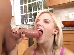 Haley Cummings filling her eager mouth with tasty dick