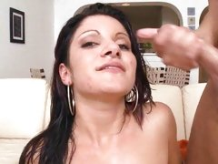 Raunchy latina loves getting showered in warm nut juice