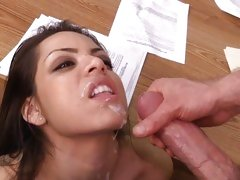 Gorgeous Yurizan Beltran gets her face blasted with cum