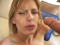Sumptuous Darryl Hanah gets her face doused with cum