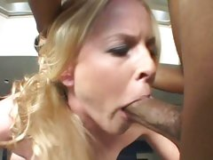 Tantalizing Amber Rain throat fucks a stiff meat pole