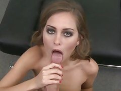 Sizzling Riley Reid drools on this tasty fuck stick