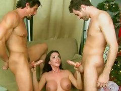 Ariella Ferrera is double bukkaked by a couple of cocks