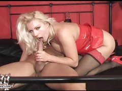 Horny Mistress Lana rides cock and forces slave to cum