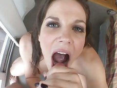 Saucy Bobbi Starr gets a mouth full of hot cock juice