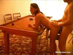 Pool table amateur fuck with horny hot wife