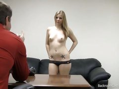 Stripping blond gets ready for a fucking at interview