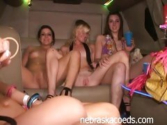 Party Girls Ready For Sexy Limo Masturbation