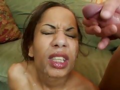 Luscious Mya Mason gets her face splattered with cum
