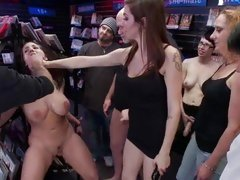 Kelly Divine is spurted with spunk in a store