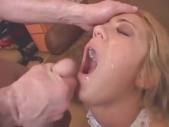 Hottie Trina Michaels gets a mouth full of hot jizz