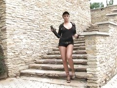 Sexy bitch Adriana Russo shows her amazing legs off