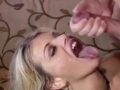 Saucy Vicky Vette gets showered in hot cock juice