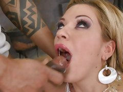 Luscious Bibi Noel gets her mouth filled with cum