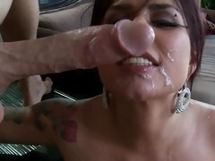 Sizzling Eva Angelina gets a shot of cum to her face
