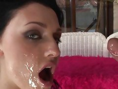 Sexy Aletta Ocean is splattered in cock cream
