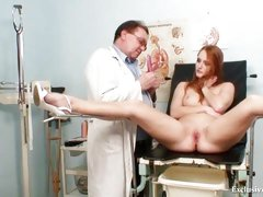 Redhead Denisa gyno pussy speculum examination at clini