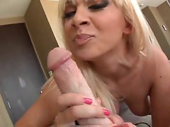 Blonde girl sucks dick and briefly sucks balls