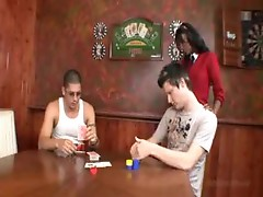 He wins the black girl in a poker game