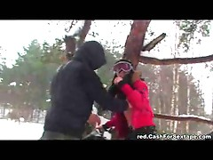Out in the snow having doggy style sex