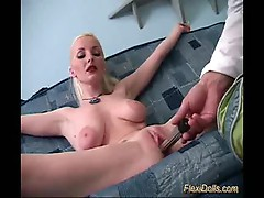 Flexible blonde doll gets toy