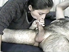 She gives hairy boyfriend a blowjob