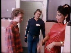 Glamorous slut and two guys in bathroom