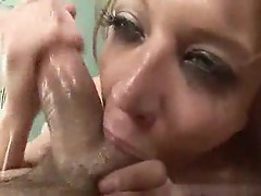 Big cock fucking her throat and getting messy