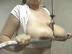 Chubby big tits girl bouncing her boobs