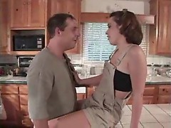 Teen seductress ass fucked in kitchen