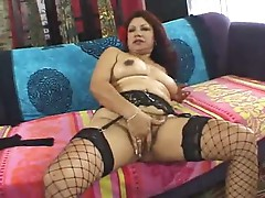 Mature Latina plugged in hairy pussy