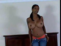 Black chick with really big oiled up tits fucking