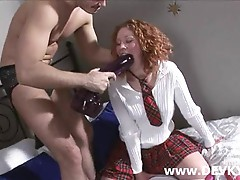 Russian redhaired chick sucking cock