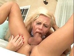 Blonde gagging during deepthroat