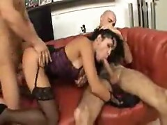 Two guys get rough with this hot slut