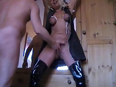 Tied up tits and pussy fisting
