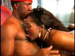 Black slut excites him with her mouth
