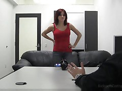 Amateur redhead makes her first porn