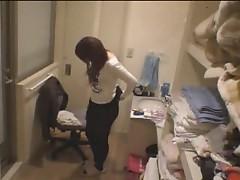Naked Japanese girl masturbating her pussy
