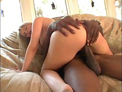 Blonde gives incredible head to black guy