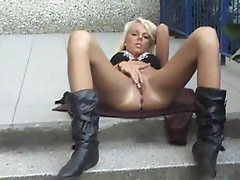 Outdoor masturbation with super hot blonde